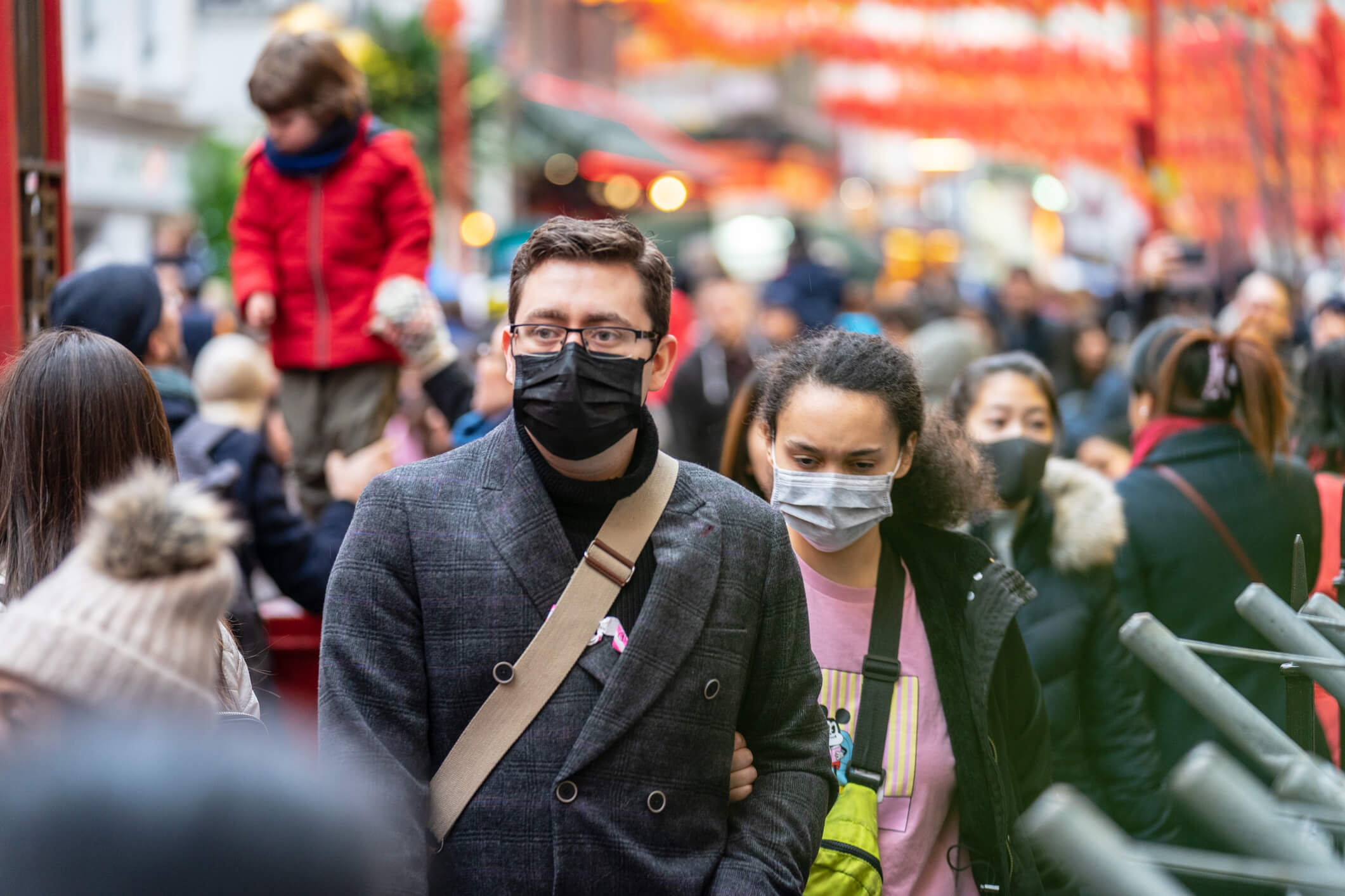 People wearing a face masks to protecting themself because of epidemic in China.