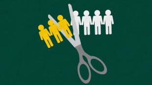 Illustration of scissors cutting paper workforce in half.