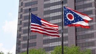 US flag flying next to the Ohio state flag