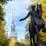 Paul Revere statue and the old north church in Boston Masachusetts