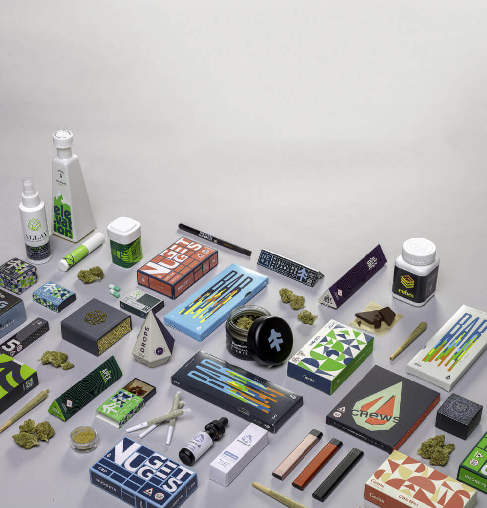 A product spread of cannabis edibles, concentrates, flower, and vaporizers by NETA.