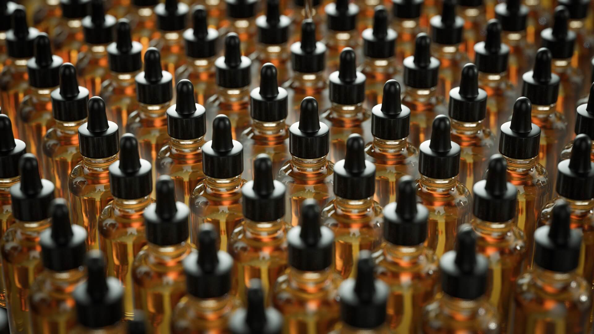 Row and row of cannabis oil