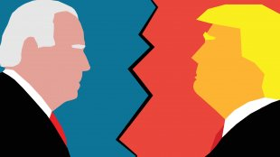 Character Illustration of Joe Biden Facing Donald Trump