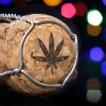 A wine cork with a cannabis leaf on it