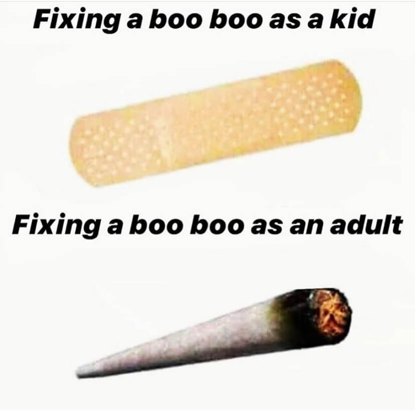 A bandaid and joint, one for kid boo boos and one for adult boo boos