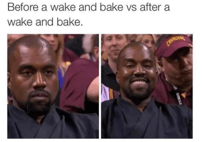 Kanye West looking sad in 1 image, and smiling in the other
