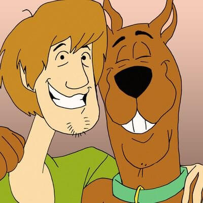 Shaggy and Scooby smiling with their heads together