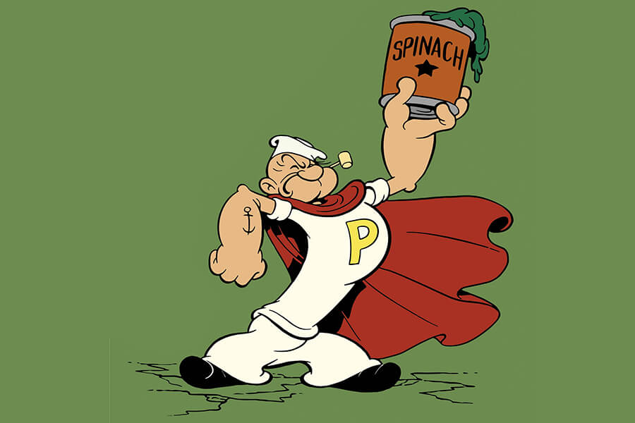 Popeye holding up a can of Spinach