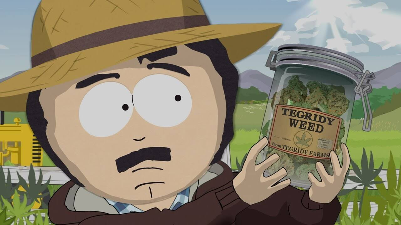 Randy Marsh holding up a jar of weed