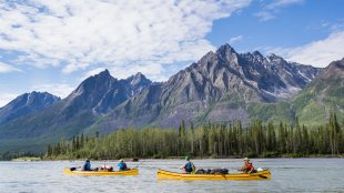 Group paddling on the Nahanni River in the Northwest Territories