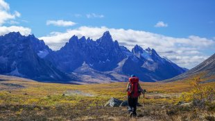 Hiking Tombstone Territorial Park in Yukon during the fall