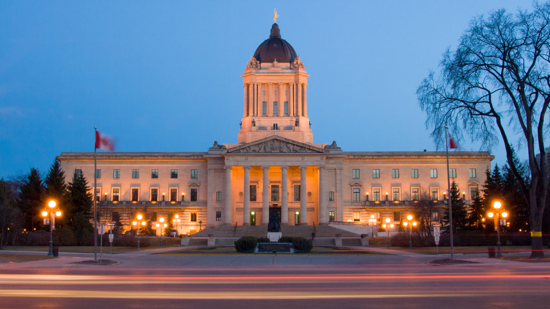 Manitoba Legislative Building at dusk in Winnipeg