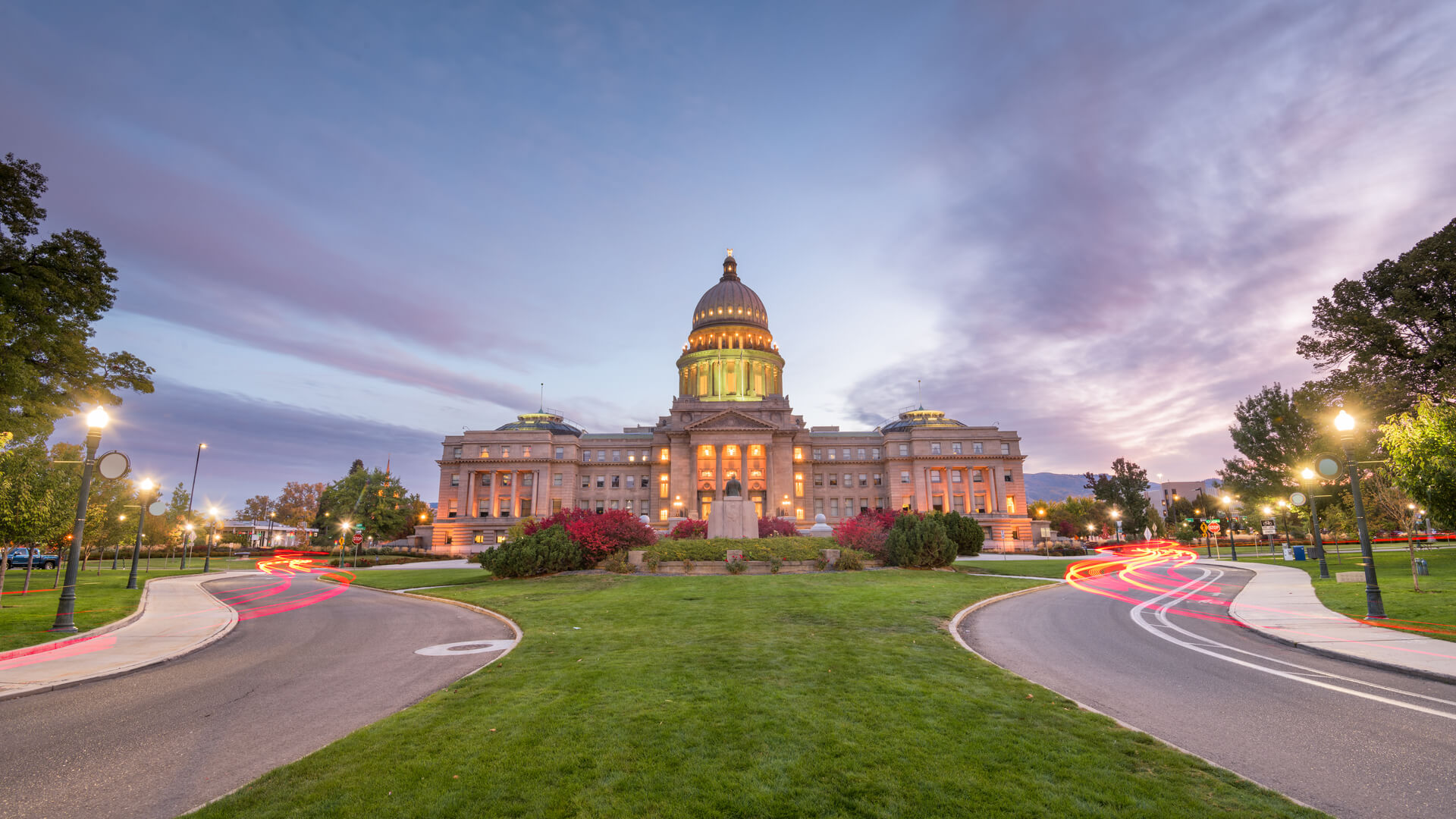Idaho State Capitol building at dawn in Boise