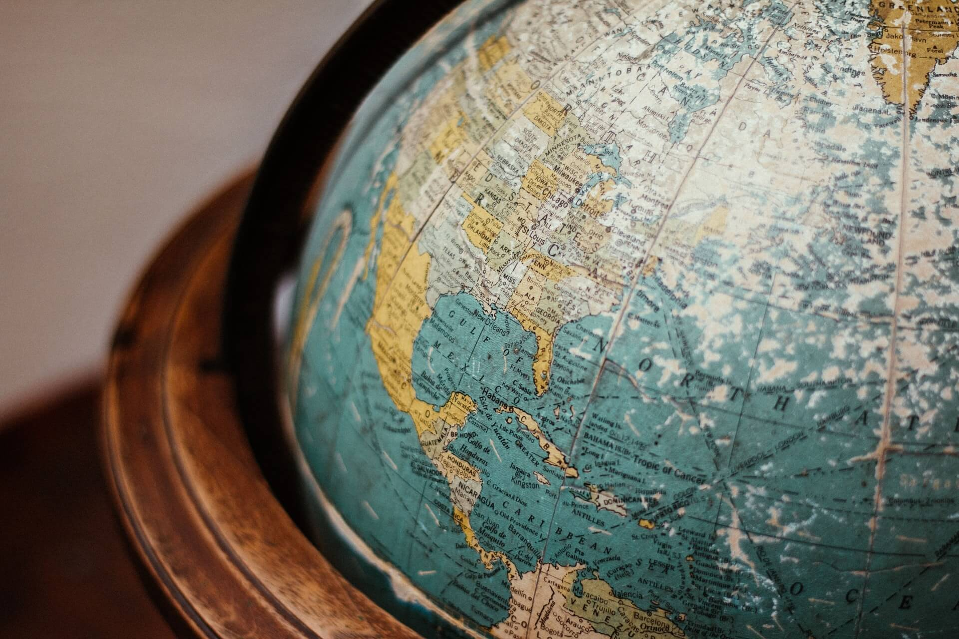 Closeup of an old spinning globe