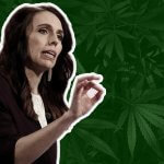 Jacinda Adern on a green background with marijuana leafs