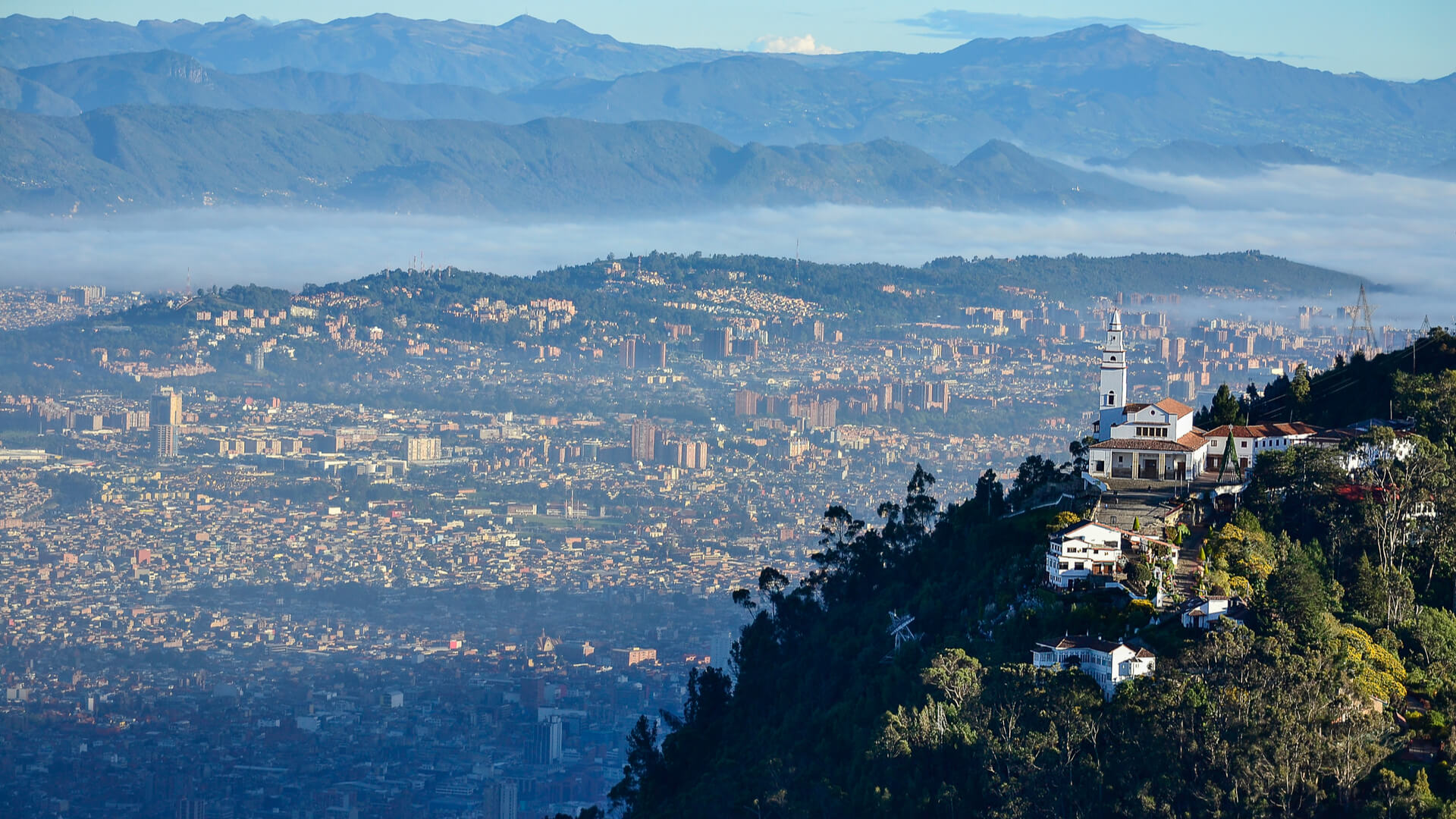 Aerial view of the city of Bogota in Columbia