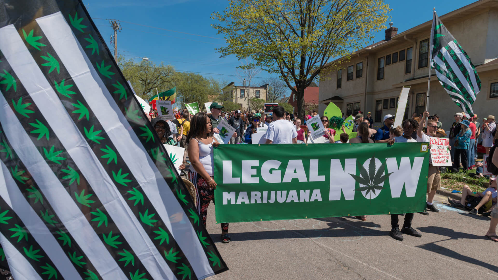 People advocating for the legalization of marijuana in Minneapolis