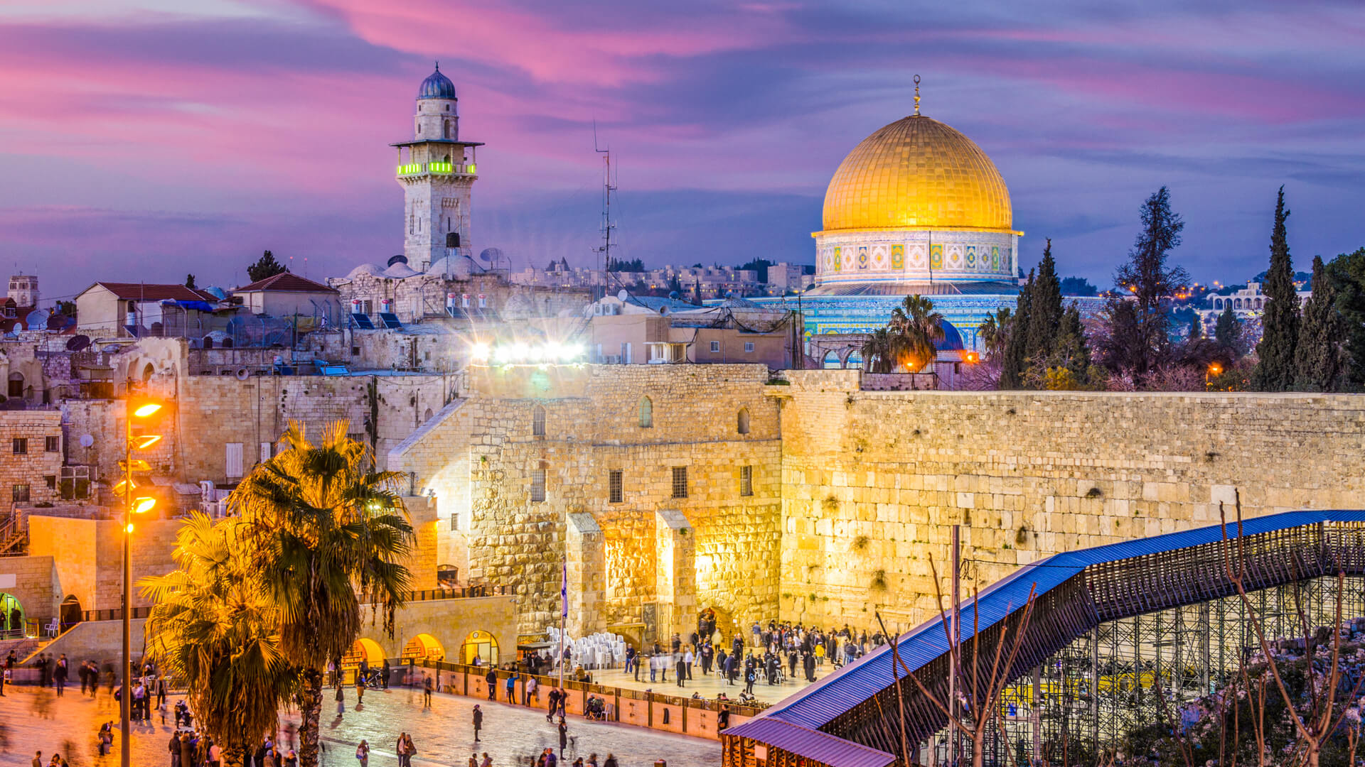 The Western Wall and the Dome of the Rock in Jerusalem, Israel