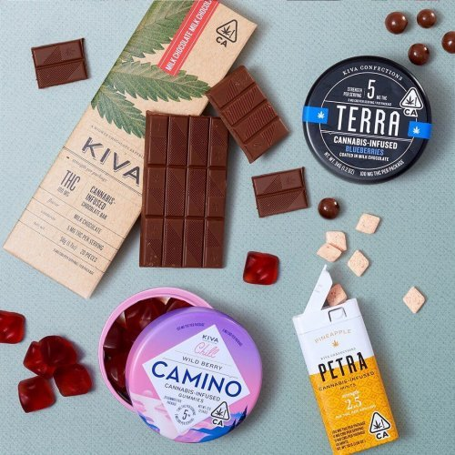 an assortment of Kiva edible products