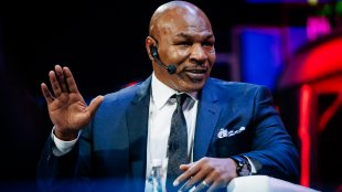 Mike Tyson speaking at the Synergy Global Forum in Moscow