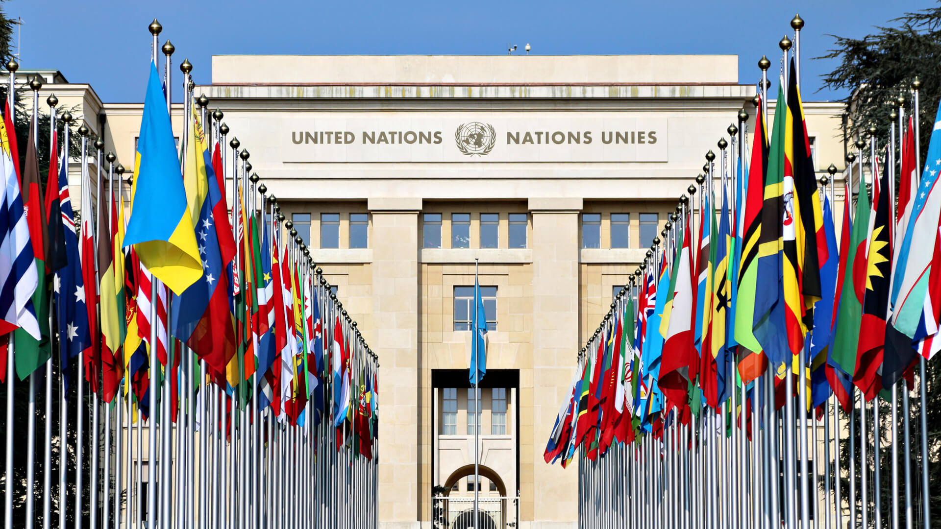 The Palace of Nations, headquarters of the United Nations in Geneva, Switzerland