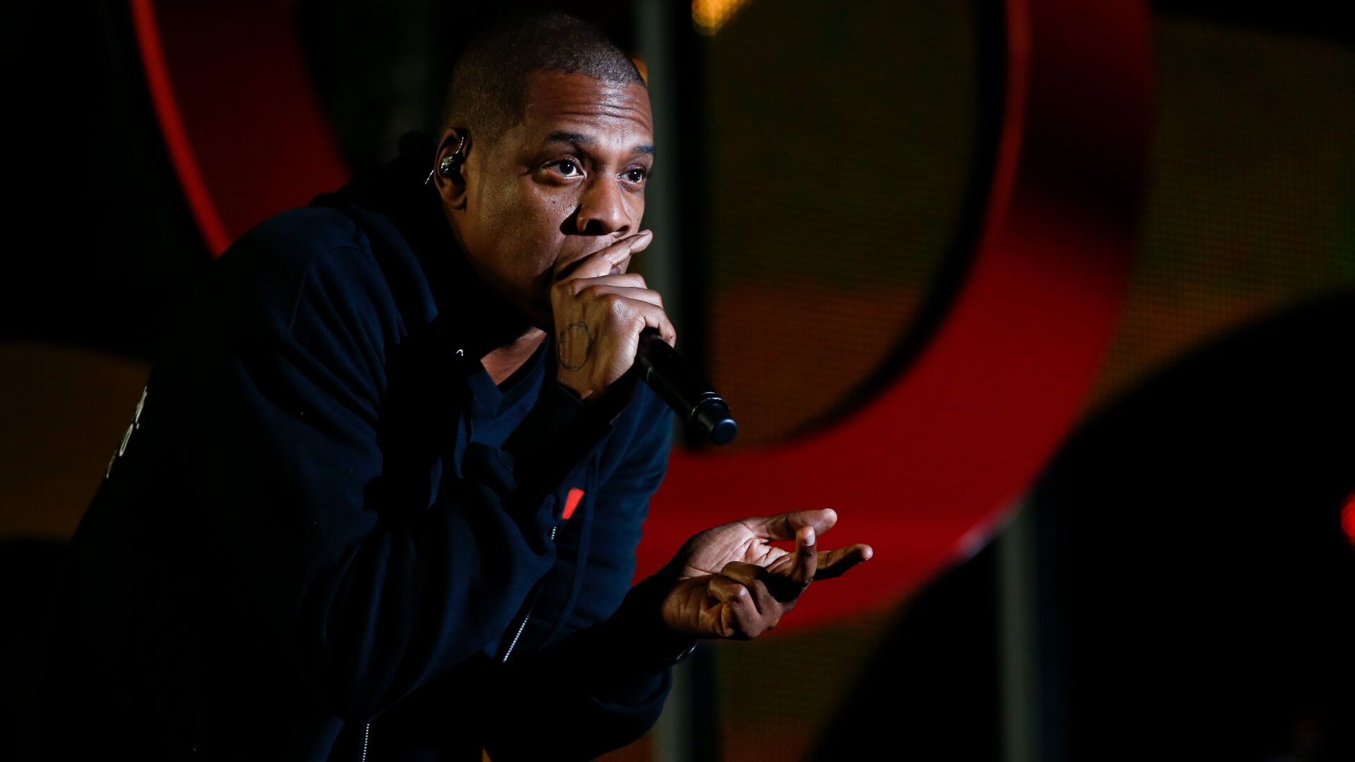 Jay-Z performing onstage at the 2014 Global Citizen Festival