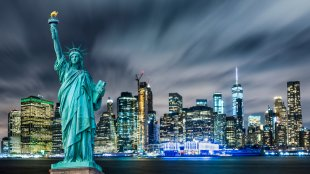 Statue of Liberty with Manhattan background