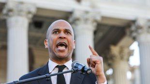 Cory Booker addresses a large crowd at the 19th annual King Day at the Dome Rally